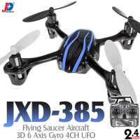 Jin Xing Da (JXD-385-BB-M2) Flying Saucer Aircraft 3D 6 Axis Gyro 4CH UFO RTF (Black Blue, Mode2) - 2.4GHz