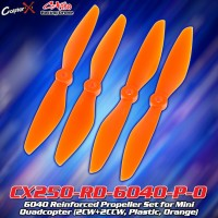 CopterX (CX250-RD-6040-P-O) 6040 Reinforced Propeller Set for Mini Quadcopter (2CW+2CCW, Plastic, Orange)