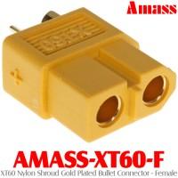Amass (AMASS-XT60-F) XT60 Nylon Shroud Gold Plated Bullet Connector - Female