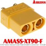 Amass (AMASS-XT90-F) XT90 Nylon Shroud Gold Plated Bullet Connector - Female