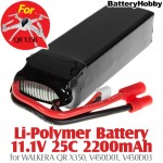 BatteryHobby (BH11.1V25C2200-B) Li-Polymer Battery 11.1V 25C 2200mAh for WALKERA QR X350, V450D01, V450D03 - Banana Plug