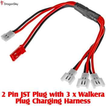 DragonSky (DS-JST-3WALKERA) 2 Pin JST Plug with 3 x Walkera Plug Charging HarnessPlug and Wire