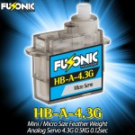 Fusonic (HB-A-4.3G) Mini / Micro Size Feather Weight Analog Servo 4.3G 0.5KG 0.12sec