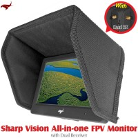 HAWK-EYE Aerial Video Technology (HEAVT-SV-5.8G-03) Sharp Vision All-in-one FPV Monitor with Dual Receiver