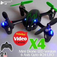 Hubsan (HS-H107C-BG-M2) X4 Mini Drone LED Version 6 Axis Gyro 4CH UFO with Video Camera and Rotor Blades Protection Cover RTF (Black Green, Mode2) - 2.4GHz