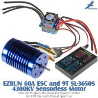 Hobbywing EZRUN 60A ESC and 9T SL-3650S 4300KV Sensorless Motor with LED Program Box Brushless System Combo for 1/10 On-road Off-road Sport Car
