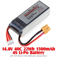 INFINITY (INFINITY-148-40-1500-4S-XT60) 14.8V 40C 22Wh 1500mAh 4S Li-Po Battery with XT60 Plug for Mini Multicopter, Racing Drone